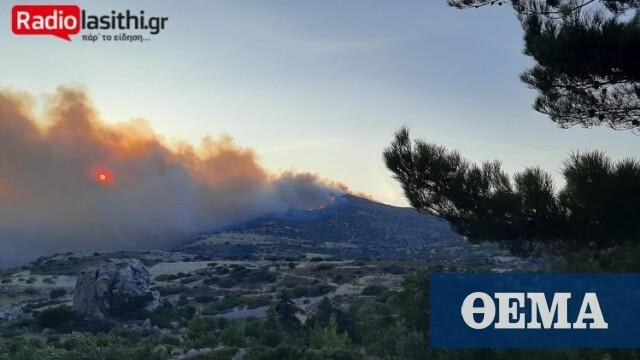 Λασίθι: Βελτιώνεται η εικόνα από την πυρκαγιά