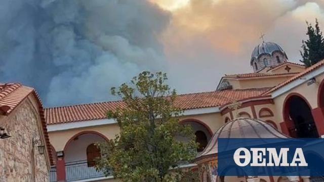 Φωτιά στη Βόρεια Εύβοια: Ανέγγιχτη παρέμεινε η Ιερά Μονή Οσίου Δαυίδ στο πέρασμα της πυρκαγιάς