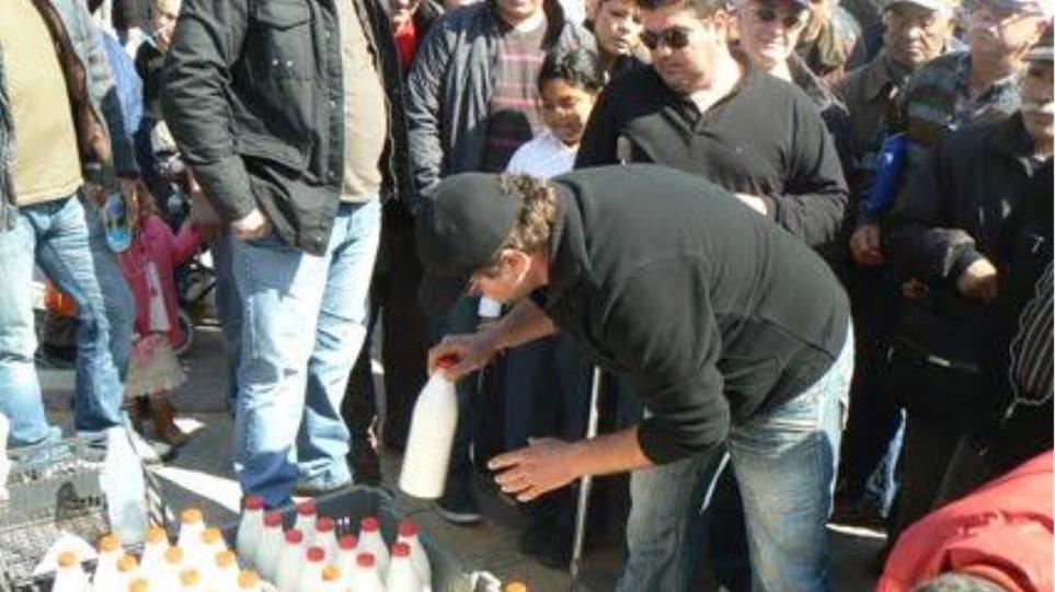 «Στριμωξίδι» στη Θεσσαλονίκη για δωρεάν γάλα και τυρί!