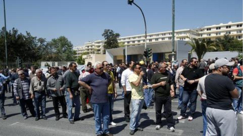 Συγκέντρωση διαμαρτυρίας των εργαζομένων στον Σκαραμαγκά