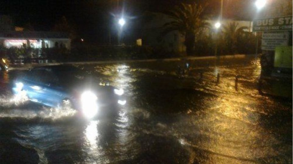 Προβλήματα από καταρρακτώδη βροχή στο Ηράκλειο