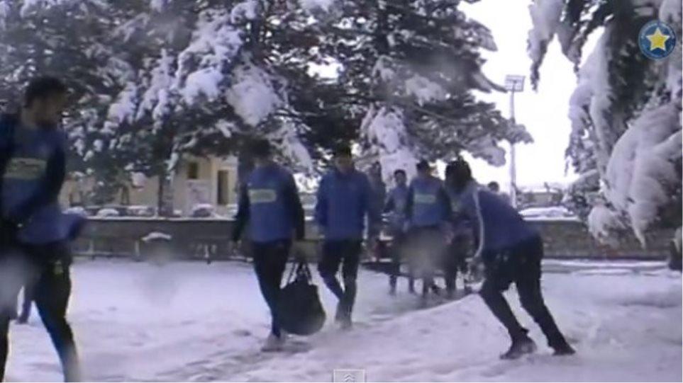 Βίντεο: Αντί για προπόνηση στον Αστέρα Τρίπολης έπαιξαν χιονόπολεμο