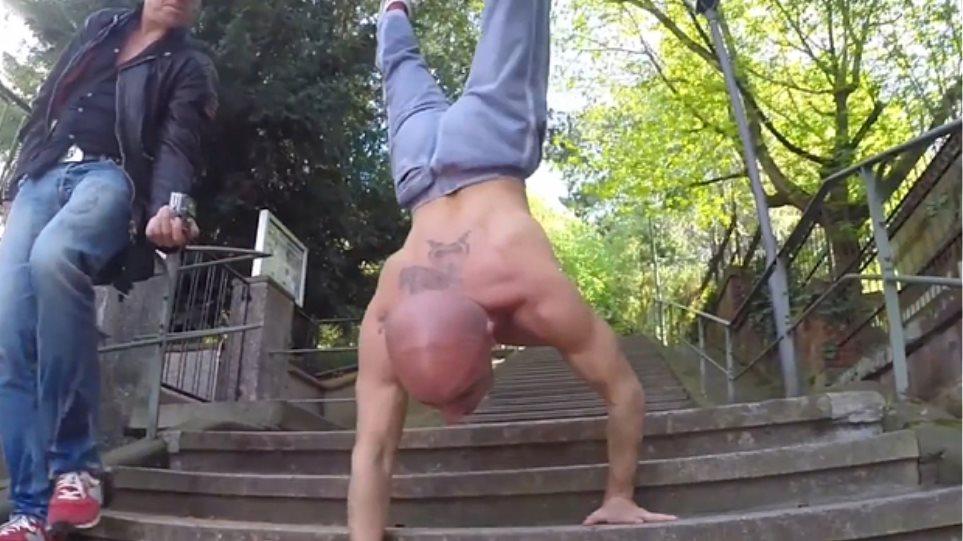 Βίντεο: Κατέβηκε 88 σκαλιά με... κατακόρυφο!