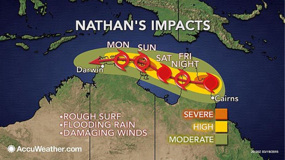 Ο κυκλώνας Νέιθαν χτυπά τις ακτές της Αυστραλίας
