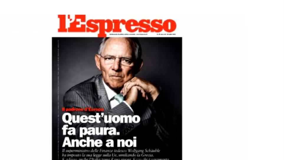 L'Espresso για Σόιμπλε: «Αυτός ο άνθρωπος προκαλεί φόβο. Ακόμα και σε εμάς»