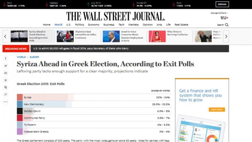 WSJ: Αν ο ΣΥΡΙΖΑ κερδίσει, όπως δείχνουν τα exit polls, θα πρέπει να κυβερνήσει διαφορετικά