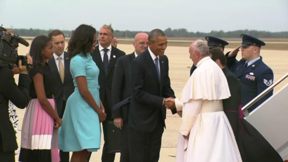 Ο Ομπάμα υποδέχτηκε τον Πάπα Φραγκίσκο στις ΗΠΑ