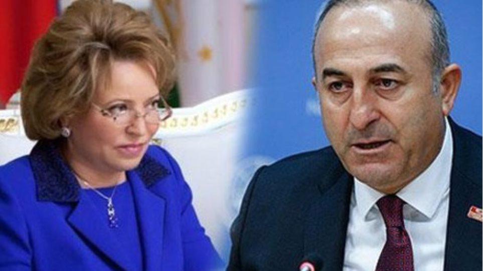 Άτυπη συνάντηση Τσαβούσογλου με την πρόεδρο της ρωσικής Άνω Βουλής