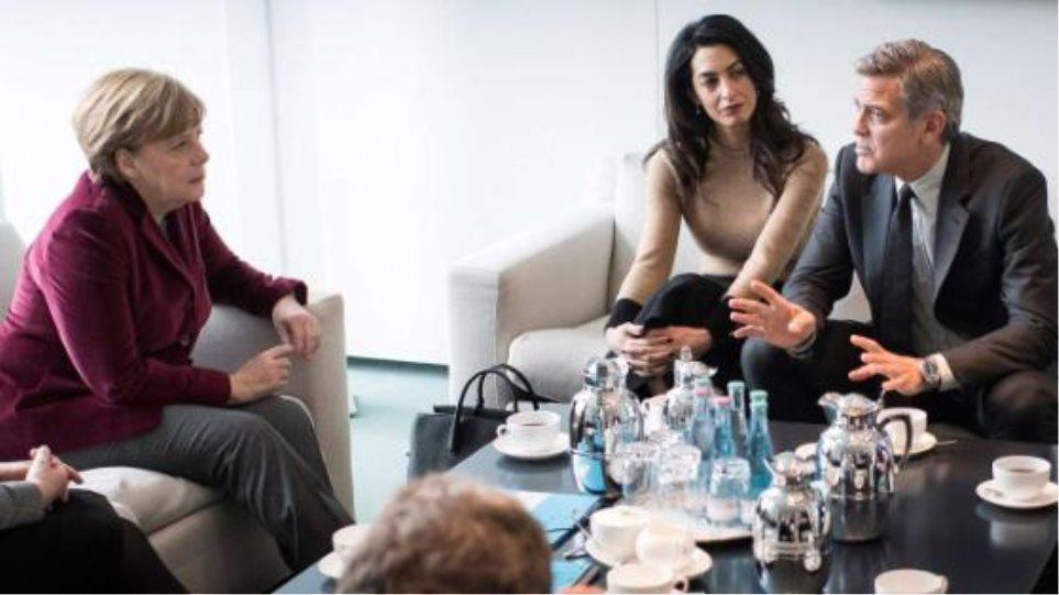 Τζόρτζ Κλούνεϊ και Αμάλ πήγαν στη Μέρκελ για το προσφυγικό