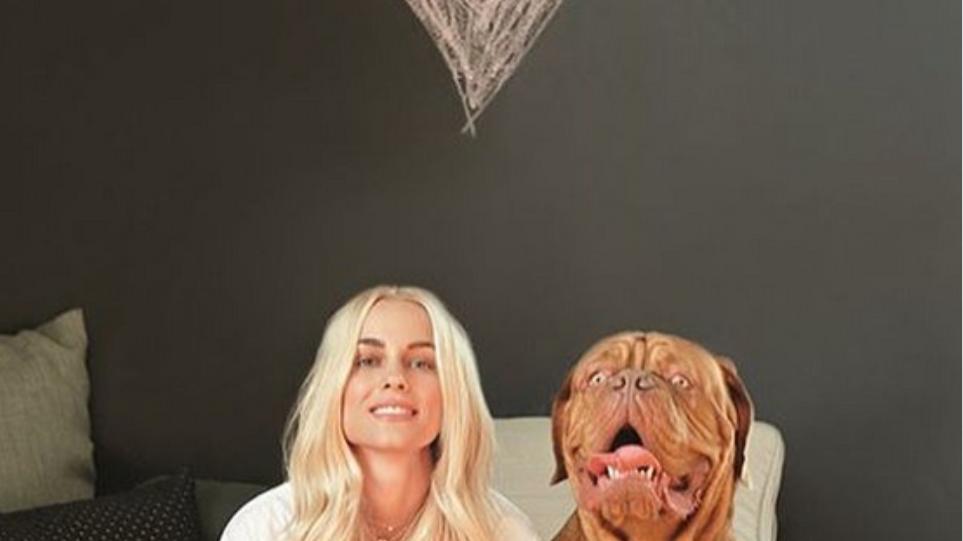 Δούκισσα Νομικού: Ποζάρει με τον σκύλο της, Χουτς