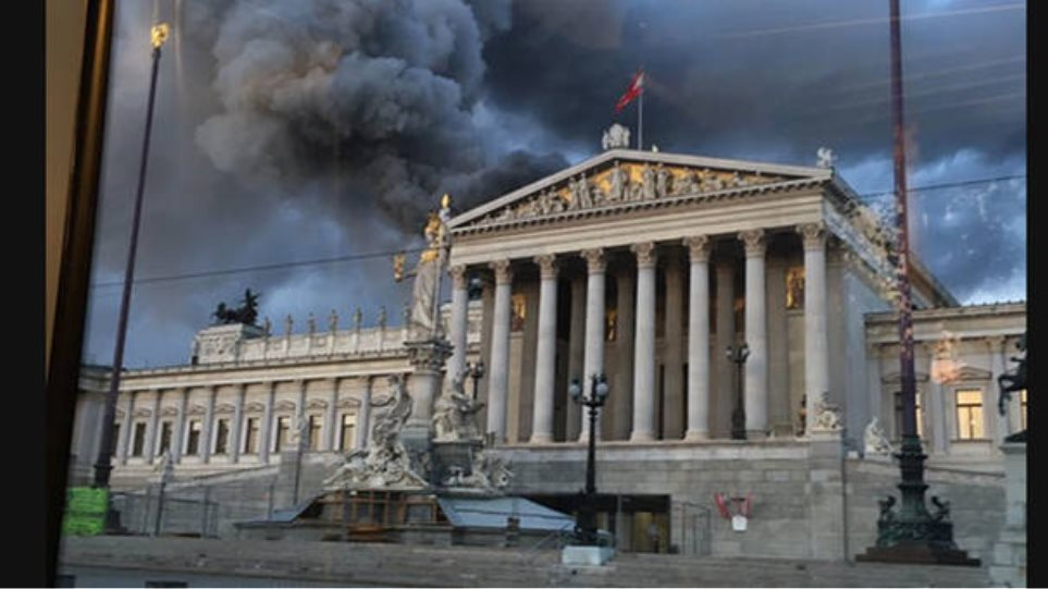 Φωτογραφίες: Φωτιά ξέσπασε στο κοινοβούλιο της Βιέννης