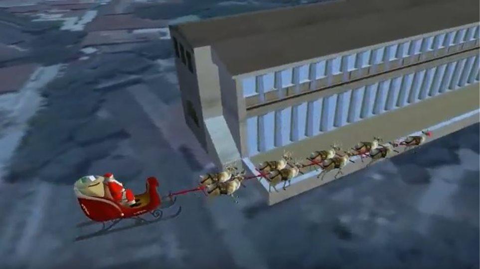Βίντεο: Ο Άγιος Βασίλης πετάει πάνω από την Αθήνα «την πόλη που αποτελεί τη βάση του δυτικού πολιτισμού»