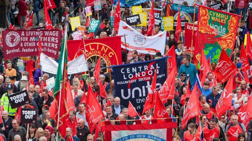Βίντεο: Χιλιάδες εργαζόμενοι στους δρόμους του Λονδίνου με αίτημα καλύτερους μισθούς