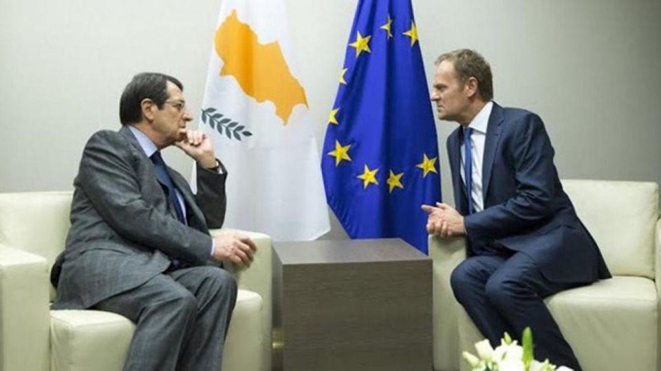 Βρυξέλλες: Ο Αναστασιάδης ενημέρωσε τον Τουσκ για τις