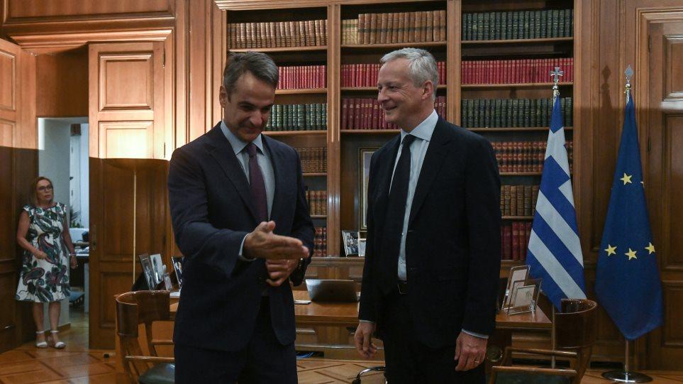 Συνάντηση Μητσοτάκη με τον Γάλλο υπουργό Οικονομικών