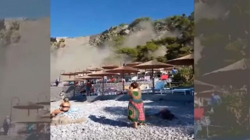 Δείτε βίντεο από τη στιγμή της κατολίσθησης στην παραλία Αρβανιτιάς