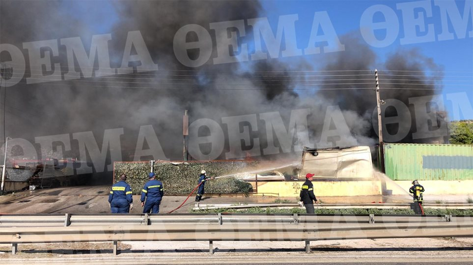 Κορωπί: Μεγάλη φωτιά σε εταιρεία στη λεωφόρο Βάρης
