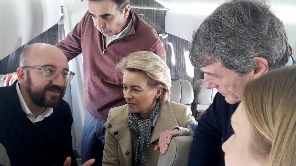 Στον Έβρο η ηγεσία της ΕΕ - Πτήση με ελικόπτερο πάνω από τα σύνορα