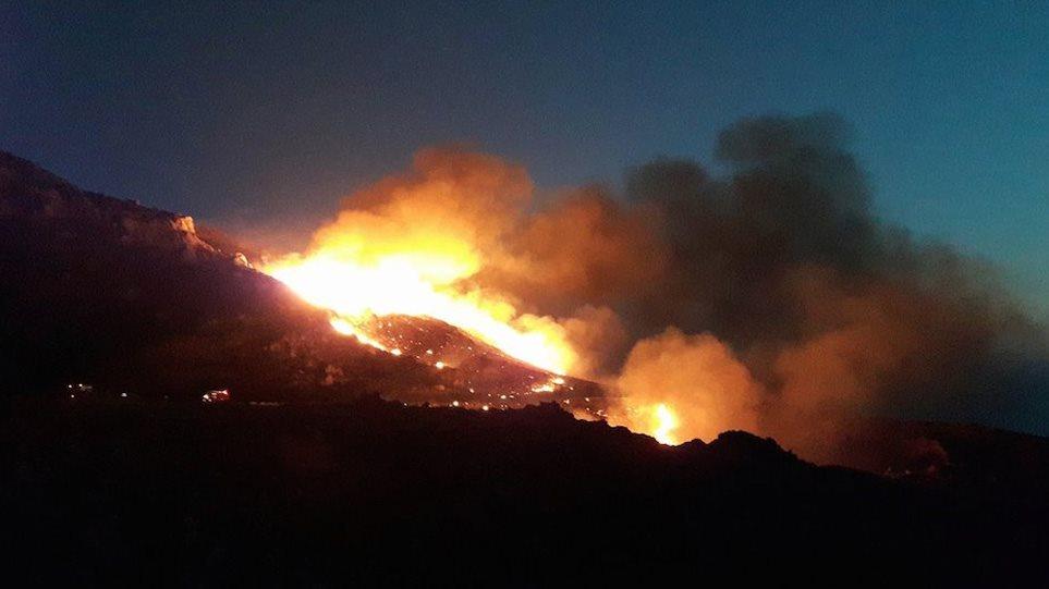 Φωτιά στη Μάνη: Ολονύχτια μάχη με τις φλόγες