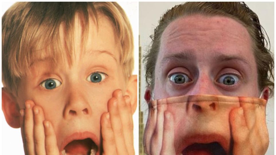 Macaulay-Culkin-poses-in-Home-Alone-2-Face-Mask-and