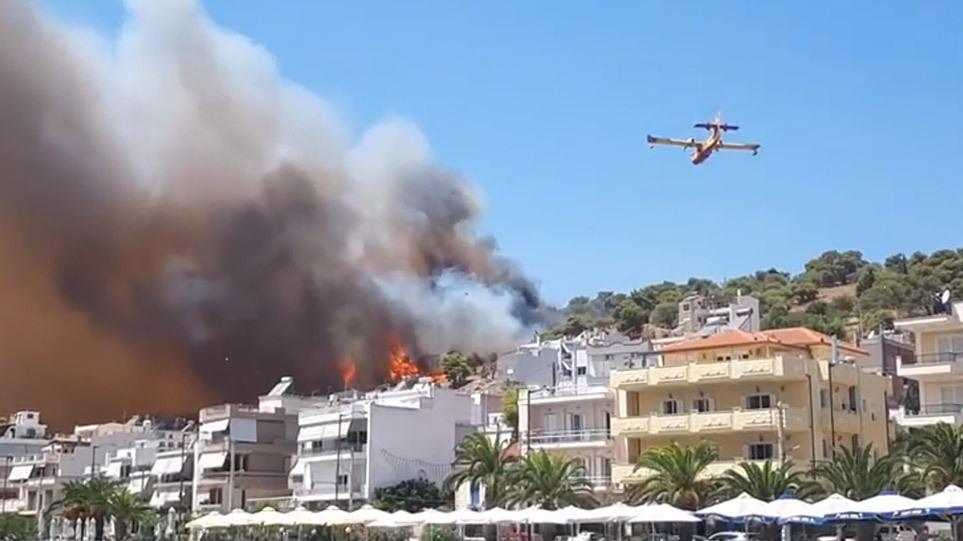 Μεγάλη φωτιά στη Σαλαμίνα πολύ κοντά σε κατοικημένη περιοχή- Πνέουν ισχυροί άνεμοι