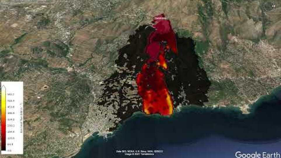 Πρόγνωση εξάπλωσης της πυρκαγιάς στο Μάτι (23.07.2021)