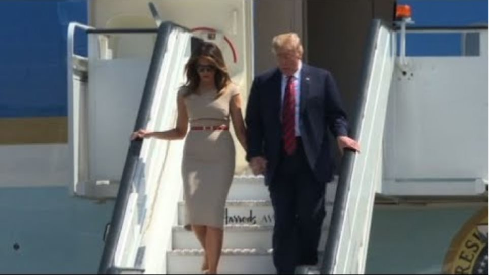 Donald Trump and wife Melania arrive in the UK