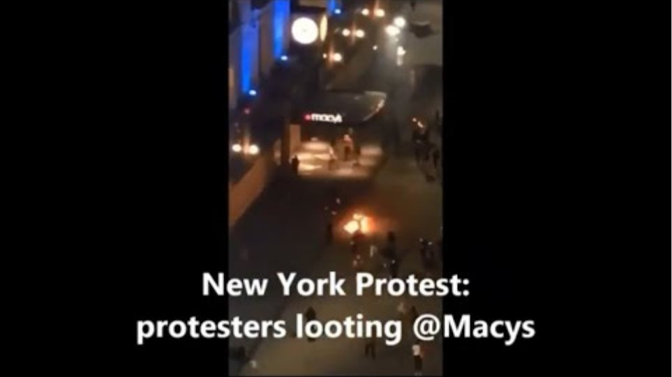Latest from New York Protest: @Macys looted, Car runs over police force