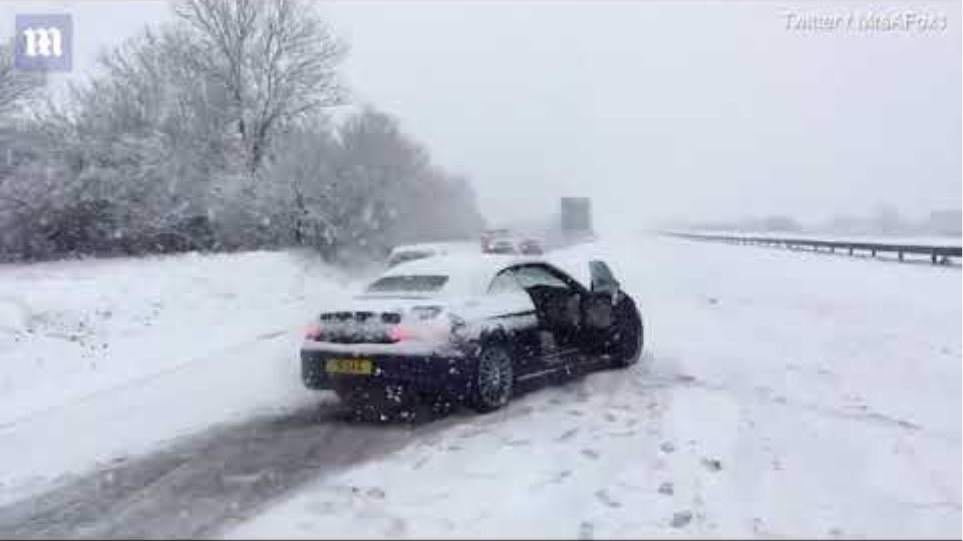 Chaos on the A30 as heavy snow hits Cornwall