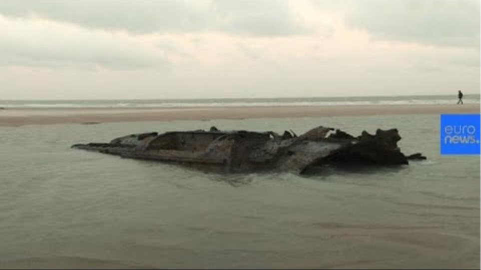 WW1-era German submarine emerges from French beach