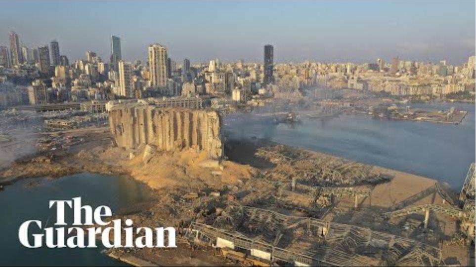 Beirut explosion destruction captured in drone footage