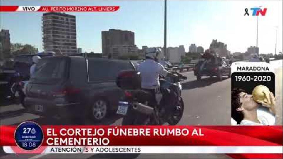 Maradona is taken in funeral cortege on highway
