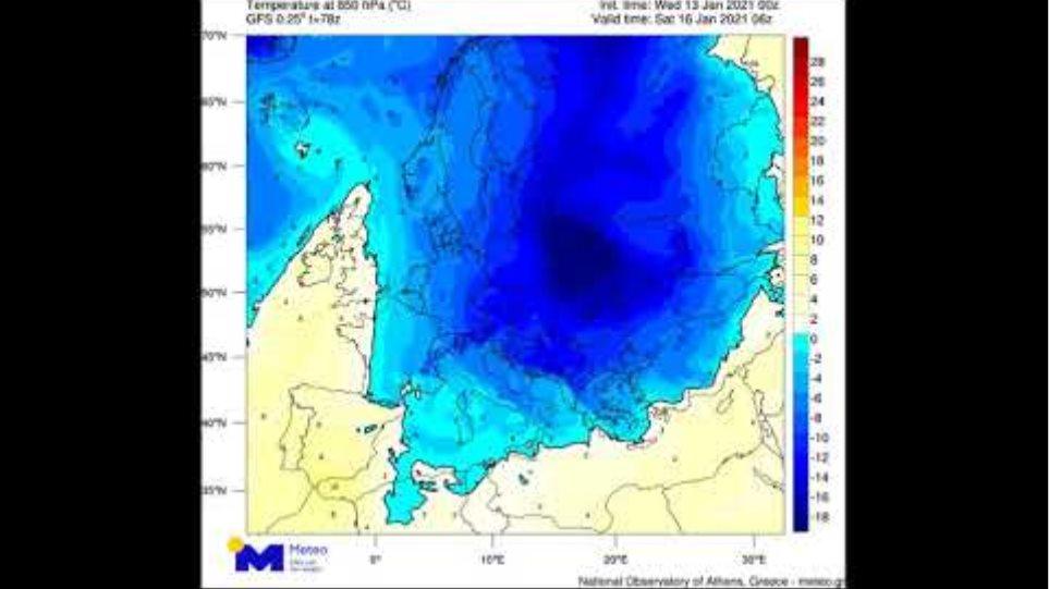 "Meteo.gr: Κακοκαιρία ""Λέανδρος"": η κίνηση των αερίων μαζών, 13-18/1/21"