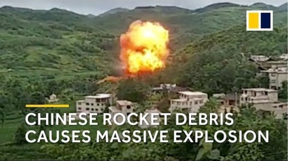 Chinese rocket debris causes massive explosion