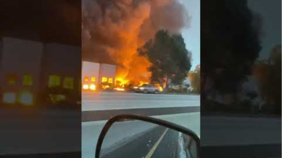 Redlands on Fire - Amazon Warehouse Fire - California US