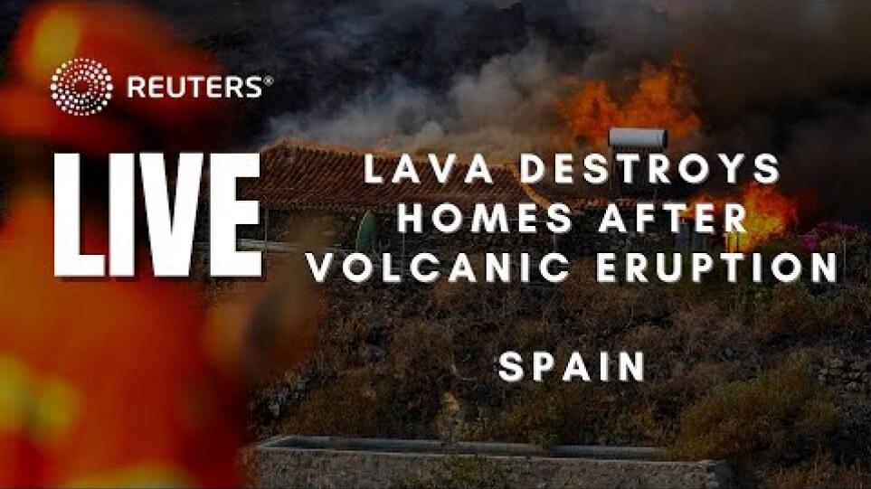 LIVE: Lava from volcano destroys homes on Spain's La Palma island