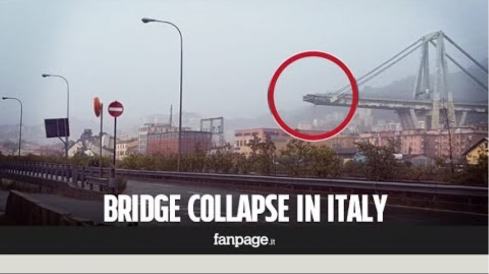 Freeway bridge collapse in Genoa Italy: the moment of the fall