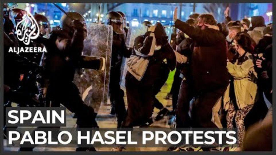 Protests turn violent in Spain over arrest of rapper Pablo Hasel