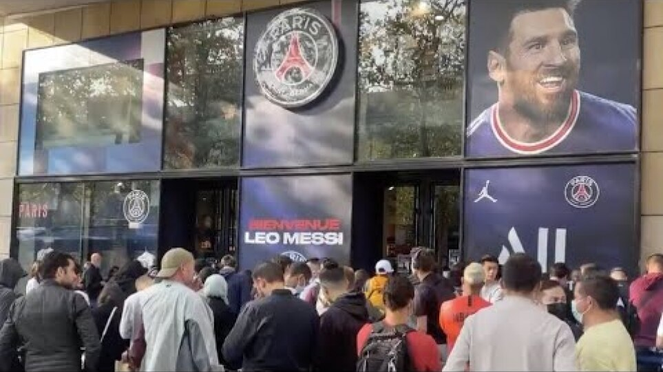 The Queue For a MESSI shirt outside PSG's Club Shop This Morning👀👕Gonna Break The Records🔥NomadAN
