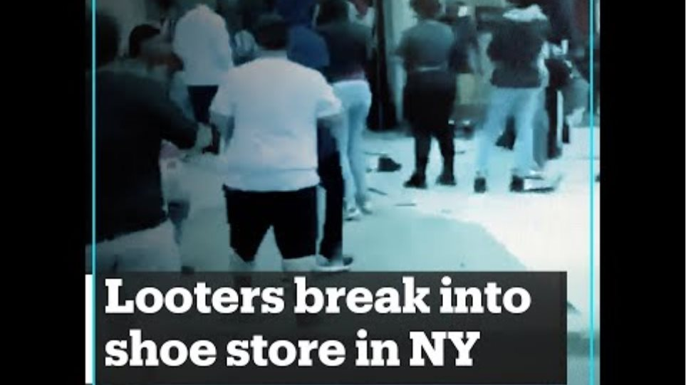 Looters break into a shoe store in New York, US