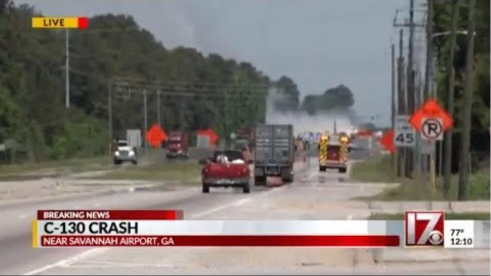 C-130 military transport plane crashes in Savannah, Georgia airport