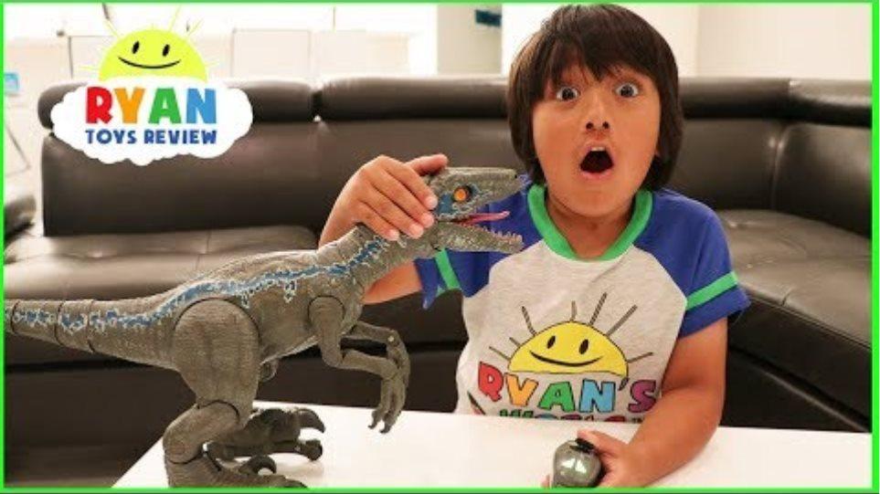 Pet Dinosaur Jurassic World Alpha Training Blue visits Ryan!!!!