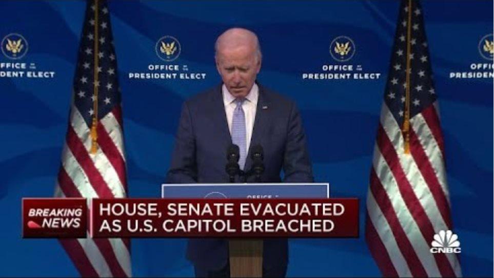 Joe Biden calls on Donald Trump to step up, end the siege