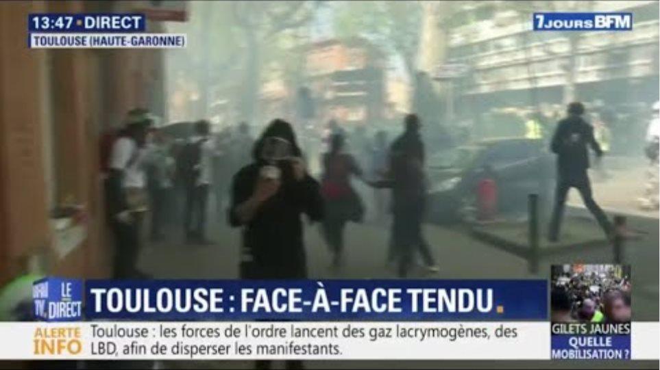Gilets jaunes: la situation est toujours tendue à Toulouse entre manifestants et forces de l'ordre