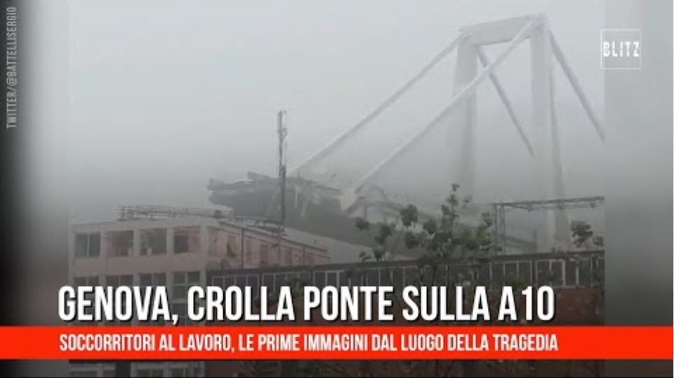 Genova, il momento del crollo del ponte sulla A10