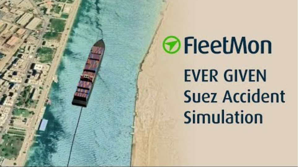 Simulation of EVER GIVEN Accident in Suez Canal 2021 in 3D by FleetMon