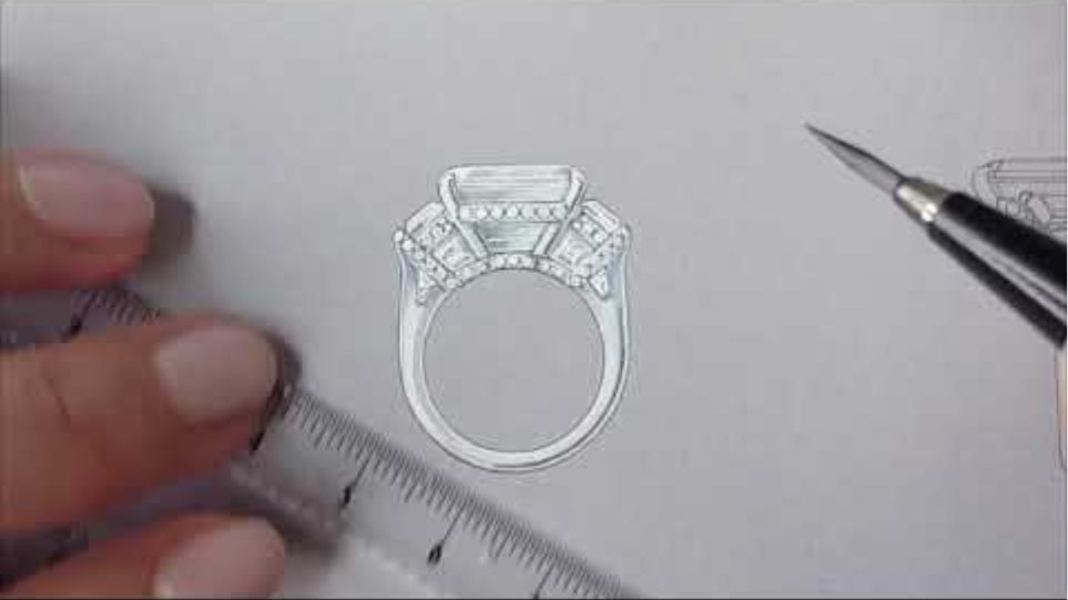 Engagement Ring Design - Hand painted in the Atelier of Jean Dousset