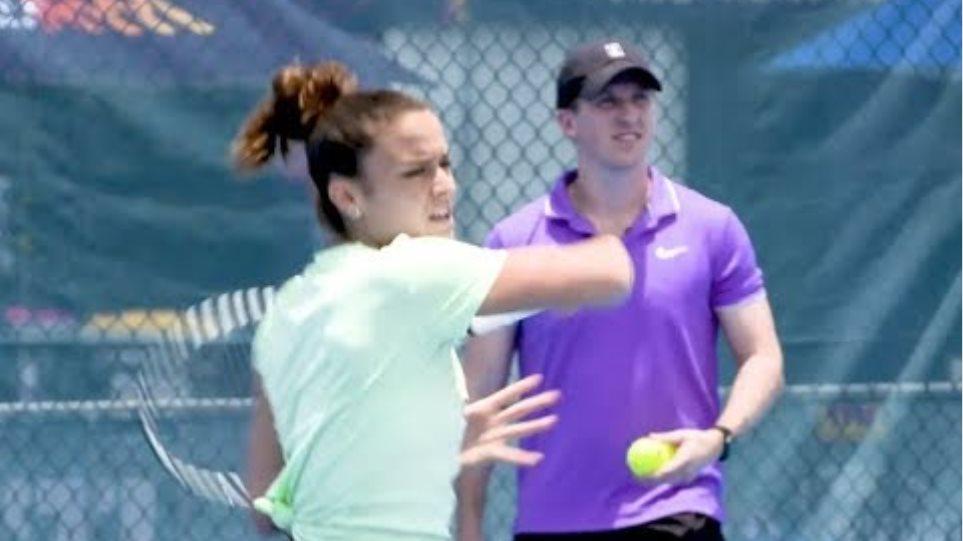 Maria Sakkari Mic`d Up Practice with Coach Tom Hill | 2020 Brisbane International