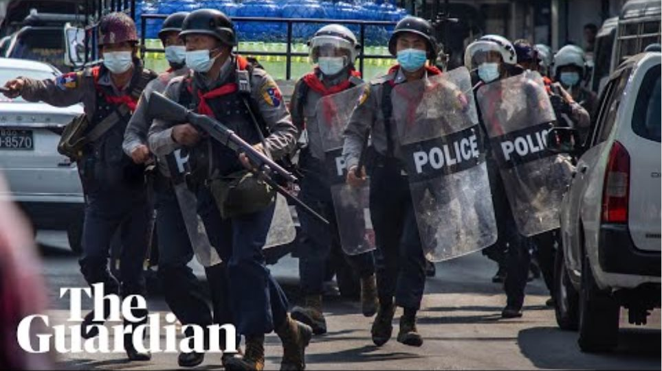 Myanmar police fire teargas and rubber bullets in violent crackdown on protesters