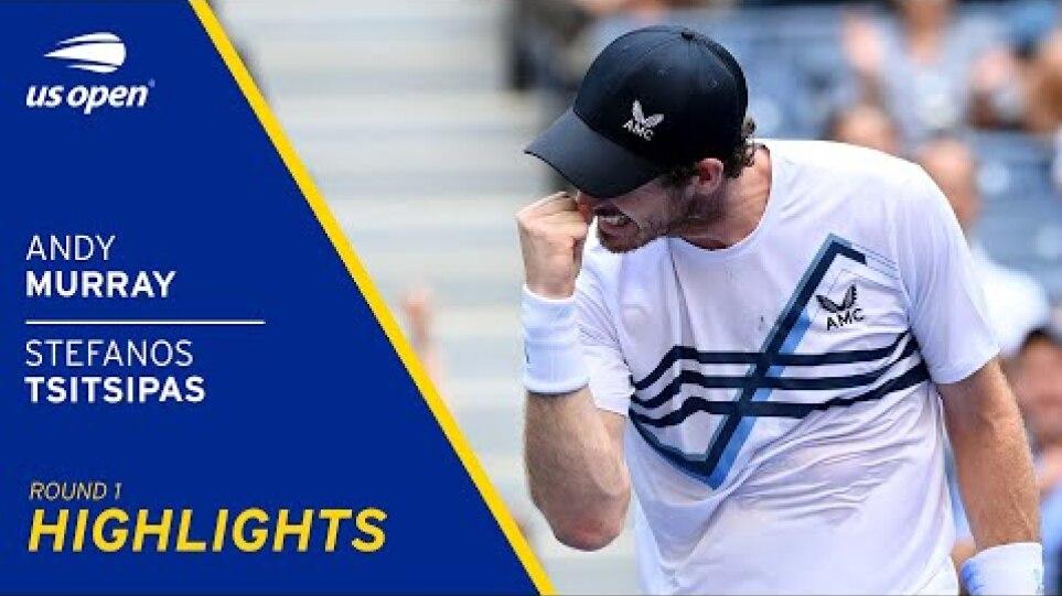 Andy Murray vs Stefanos Tsitsipas Highlights | 2021 US Open Round 1
